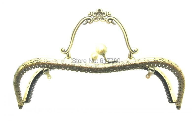 "Free Shipping-1PC Antique Bronze Purse Bag Metal Arch Frame Kiss Clasp Lock Handle 21x15cm(8 2/8""x5 7/8"") J2585(China (Mainland))"