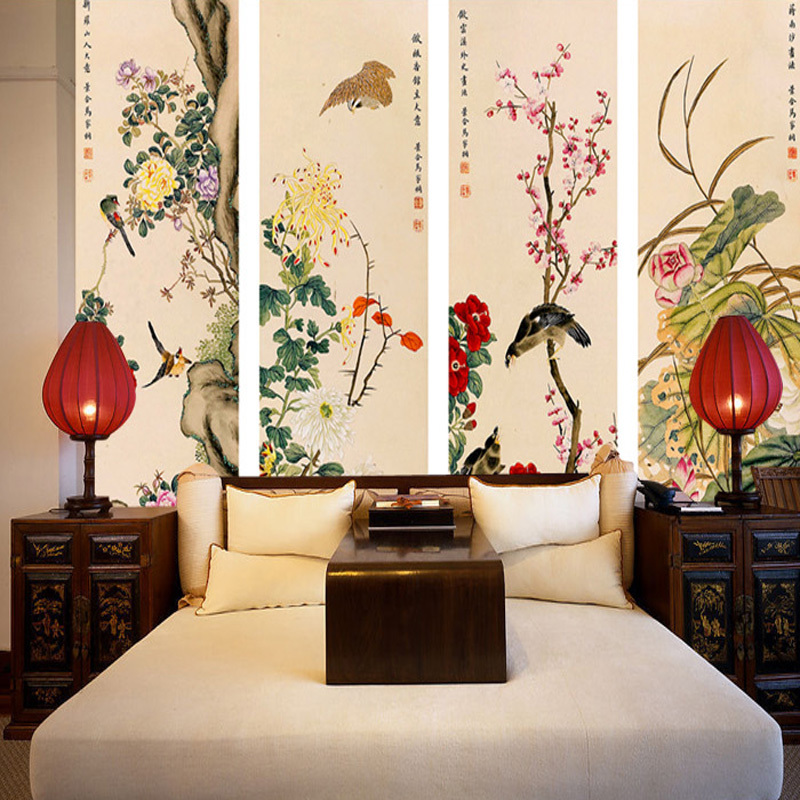 Wall art large 3d three dimensional mural chinese style for Large 3d wall art