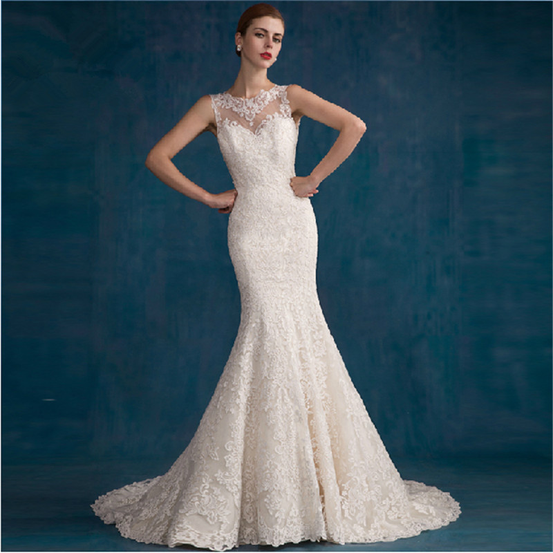 new style mermaid wedding dress 2015 see through back lace