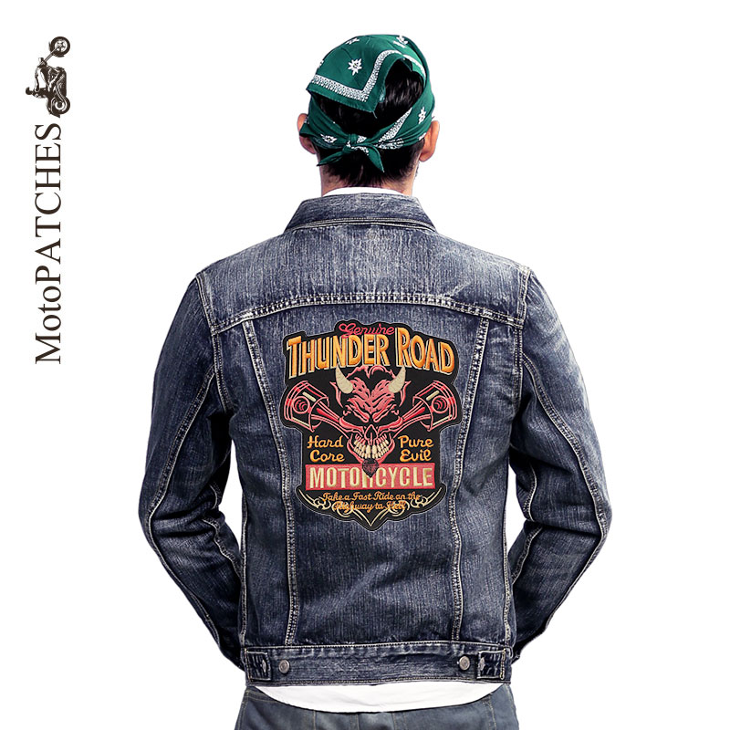 skull patches for clothes hell demon embroidered letter custom uniform applique back mc iron on patches for jackets motorcycles