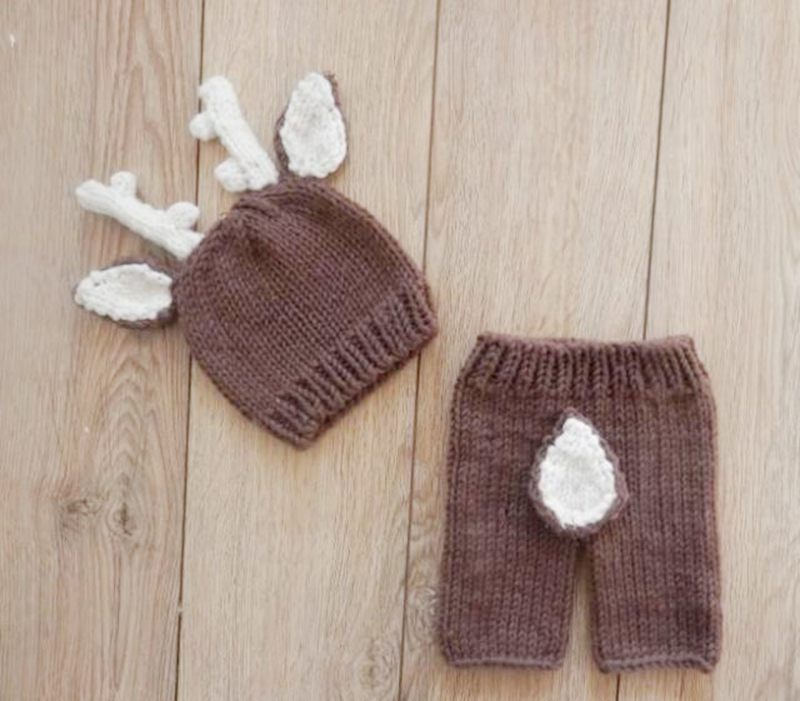 Deer Pattern Crochet Baby Hat Newborn Costume Set,Knit Newborn Baby Photography Props Animal Hats,Christmas Baby Clothes,#P0563(China (Mainland))