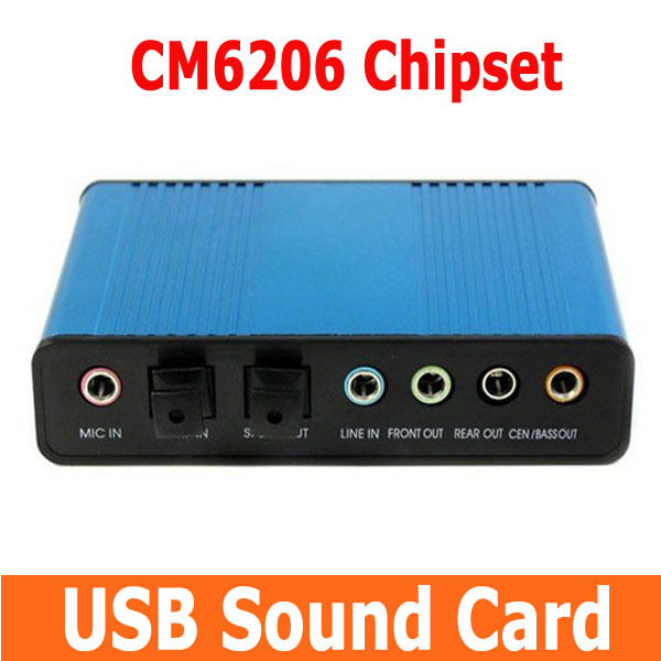 10pcs Hot Professional USB Sound Card 6 Channel 5.1 Optical External Audio Sound Card SPDIF for PC Computer Notebook Desktop(China (Mainland))