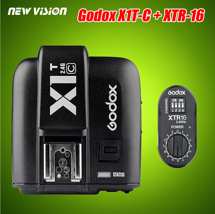 Godox XTR-16 Wireless 2.4G Power Control Flash Receivers + X1T-C TTL Wireless Transmitter for Canon AD180 AD360(China (Mainland))