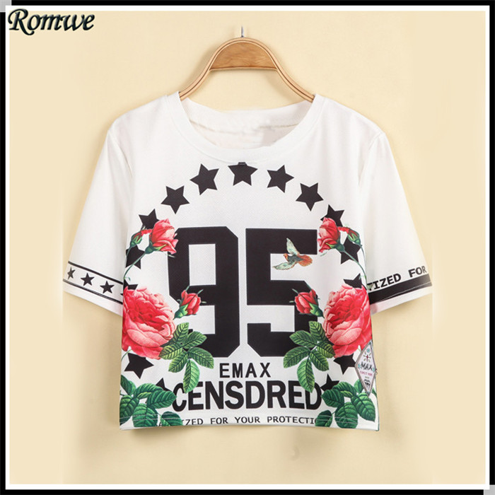 Женская футболка ROMWE 2015 95 NCTTSD1213 2015 95