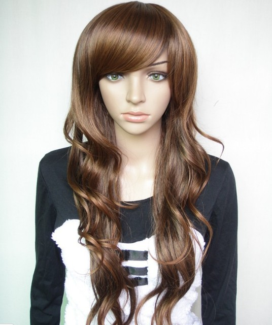 Silky wavy,70CM 195G Synthetic wigs(#2 black,#2t33 dark brown,#2t30 light brown) ,natural wig,free shipping
