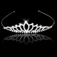 Wedding Accessory Women Party Pageant Crystal Bridal Tiara Silver Plated Crown Hairband(China (Mainland))