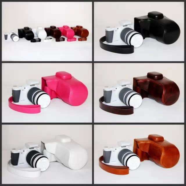 Black/White/Brown/Pink/Coffe Camera Bag Case Leather Case for Digital Camera Kodak S1 Free Ship(China (Mainland))