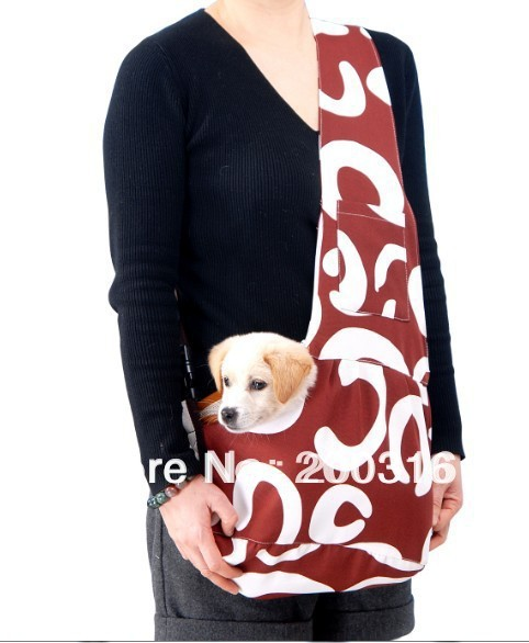 New Coffee Pet Sling Carrier Bag Dog Cat Carrier  dog carrier Free Shipping  Retail