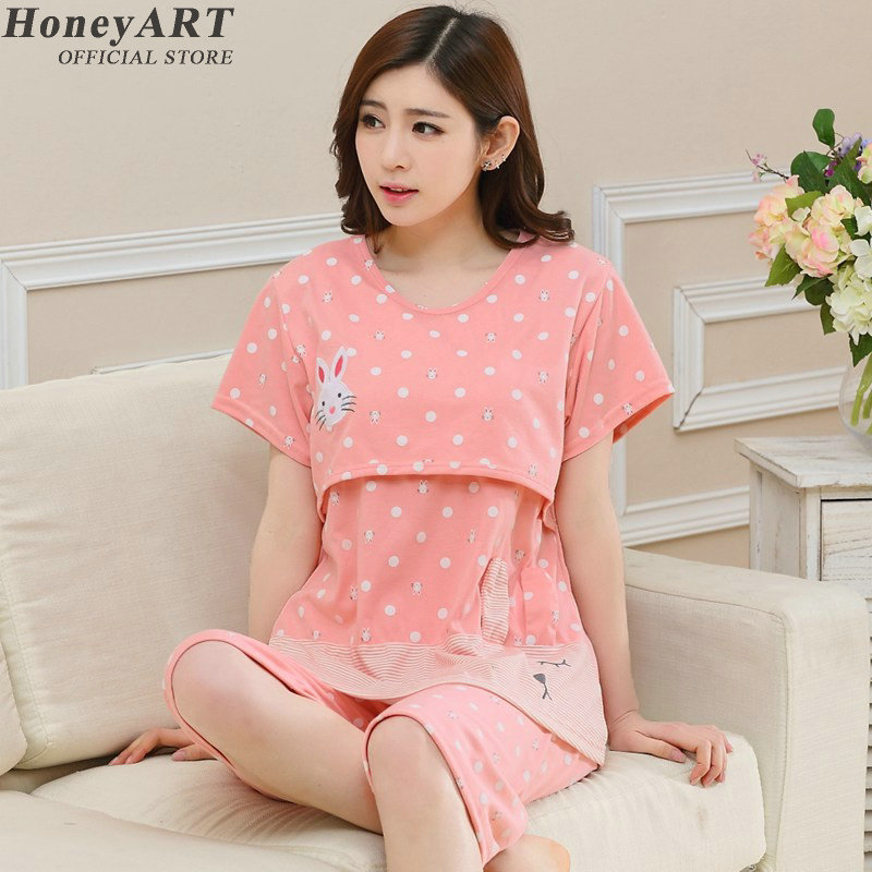 2017New Maternity Sleepwear clothes for Pregnant Women Pajamas Nursing Breast Feeding Nightgown DD196