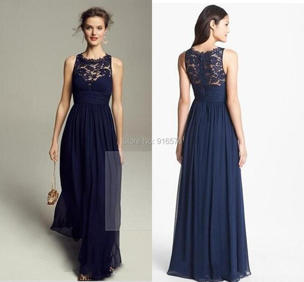 Lace chiffon bridesmaid dresses scoop neck sleeveless for Navy dresses for weddings