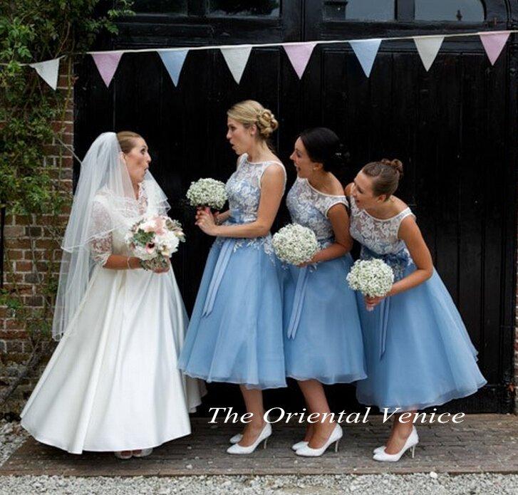 Vintage Style Tea Length Bridesmaid Dresses - Wedding Dresses