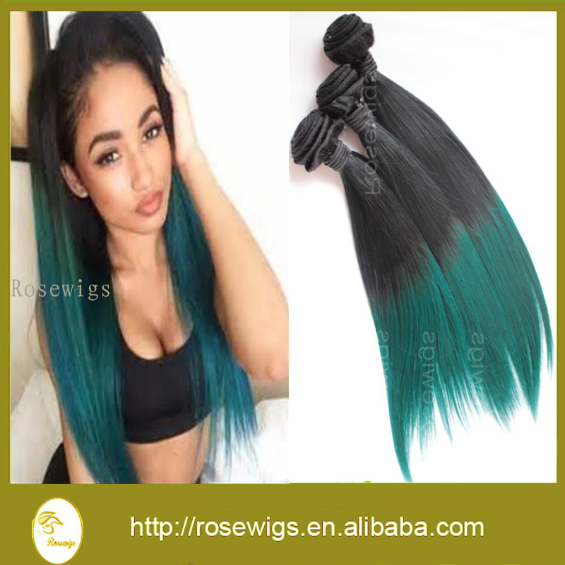 Rosewigs 1bgreen Ombre Hair Extensions 3pcslot Virgin Malaysian