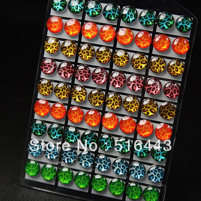 A-428 21 Fashion Jewelry Stainless steel Women Mens Mix Color Lucite Enamel Leopard Pattern Stud Earrings - Edna store