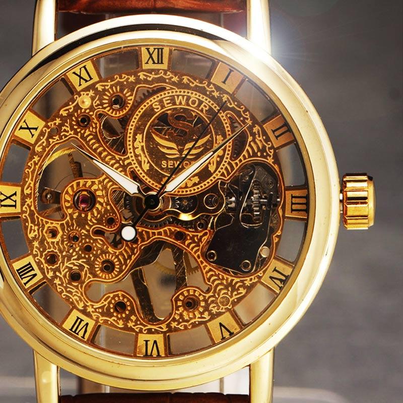 2016 new SEWOR BRAND skeleton hollow fashion mechanical hand wind man clock luxury male business lea