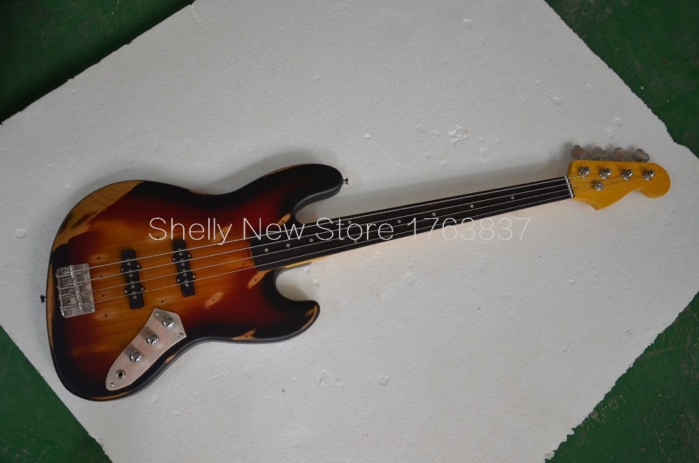 Shelly new store Alder body old used vintage relic faded ebony fretless fingerboard electric bass guitar musical instrument shop(China (Mainland))