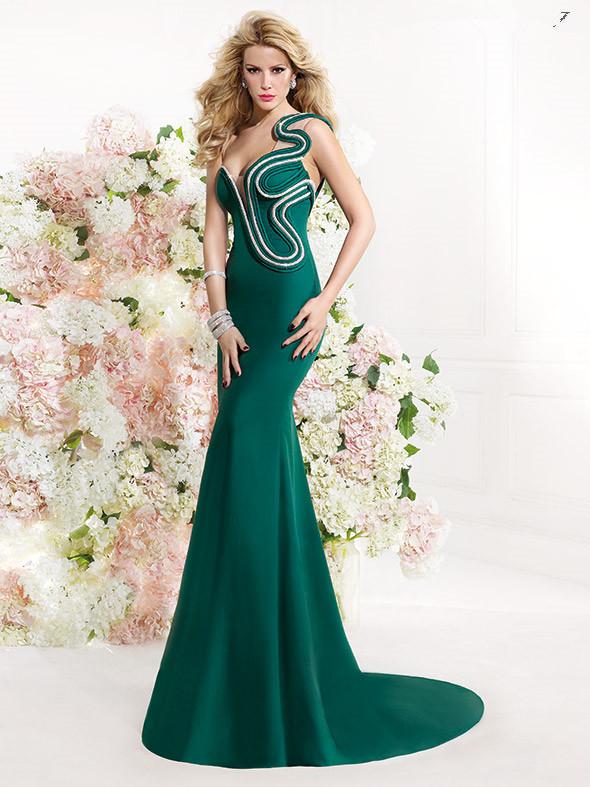 groene im309 hete verkoop een schouder zeemeermin avondjurken 2016 designer jurken speciaal ontwerp lange prom jurk gratis verzending(China (Mainland))