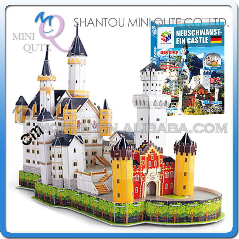 Mini Qute New Swan Stone Castle building world architecture 3d paper model cardboard puzzle educational toy NO.G168-9(China (Mainland))