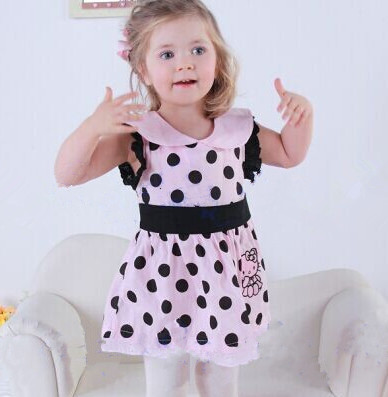 Baby clothing girls dress fashion hello kitty cartoon dot vest dress girl princess dress baby girls 2 ~ 6 years old new 2015(China (Mainland))