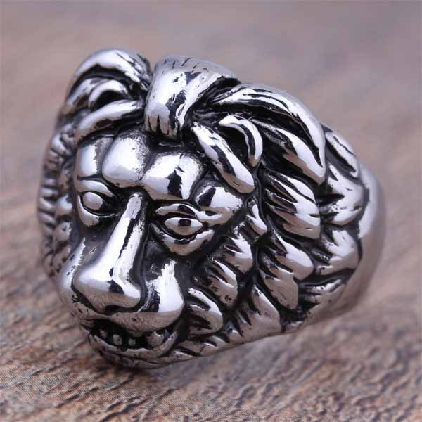 2016 New Stainless Steel Fashion Silver Mens Lion Head Biker Rings Punk Animal Vintage Jewelry Factory Price Cheap Items (A501)(China (Mainland))