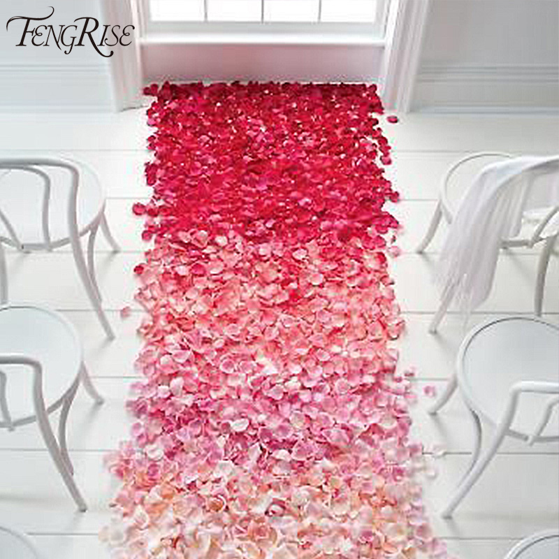 Wedding Events Decoration 50Silk Rose Petals Table Artificial Flowers Engagement Celebrations Party Supplies - FENGRISE Store store