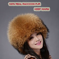 New autumn winter warm children fur hat women parent child real raccoon hat with two tails