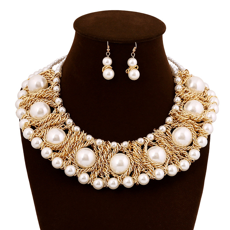 2015 New Fashion Party Jewelry Imitation Pearl Necklace 18K Dubai Gold Plated Set African Beads Bridal Sets - Verynice store