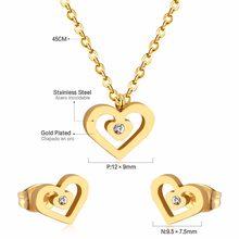 LUXUKISSKIDS Edelstahl Hochzeit Dubai Braut Schmuck Sets CZ Herz Halskette Ohrringe Sets Für Frauen Partei Schmuck Sets(China)