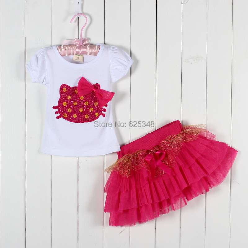 Wholesale High-quality Summer Girls Clothing Set Hello Kitty Baby Girl Suits Kids Sets T-shirt+skirt Children Clothing Set <br><br>Aliexpress