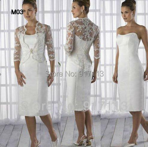 Vestido De Madrinha 2015 Short White Sheath Satin Mid Calf