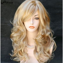 Fashion Blonde Wig with Bangs Highlight Hairstyle Long Wavy Curly Wig Perruque Synthetic Women Peruca Feminina Loira Party Wig(China (Mainland))