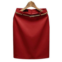 2016 New Fashion Women Sexy High Waist Solid Pencil Skirt Ladies OL Career Slim Skirt