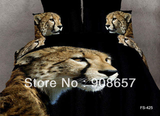 new cheaper bed sets Brown leopard animal print discount bedding 100% cotton quilt duvet covers set 4pc for full/queen comforter