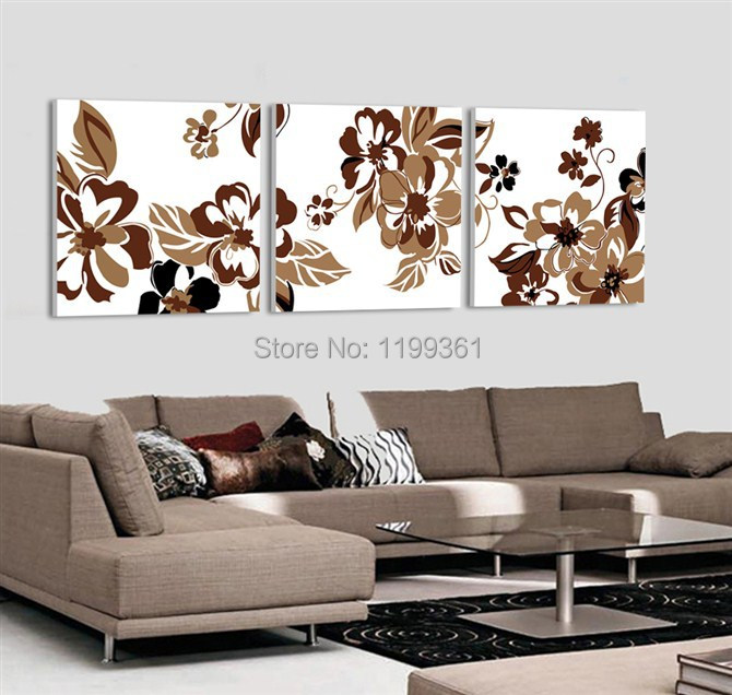 Buy 3 Piece Modern Wall Painting Abstract Brown Flower Living Room Home Decoration Art Picture