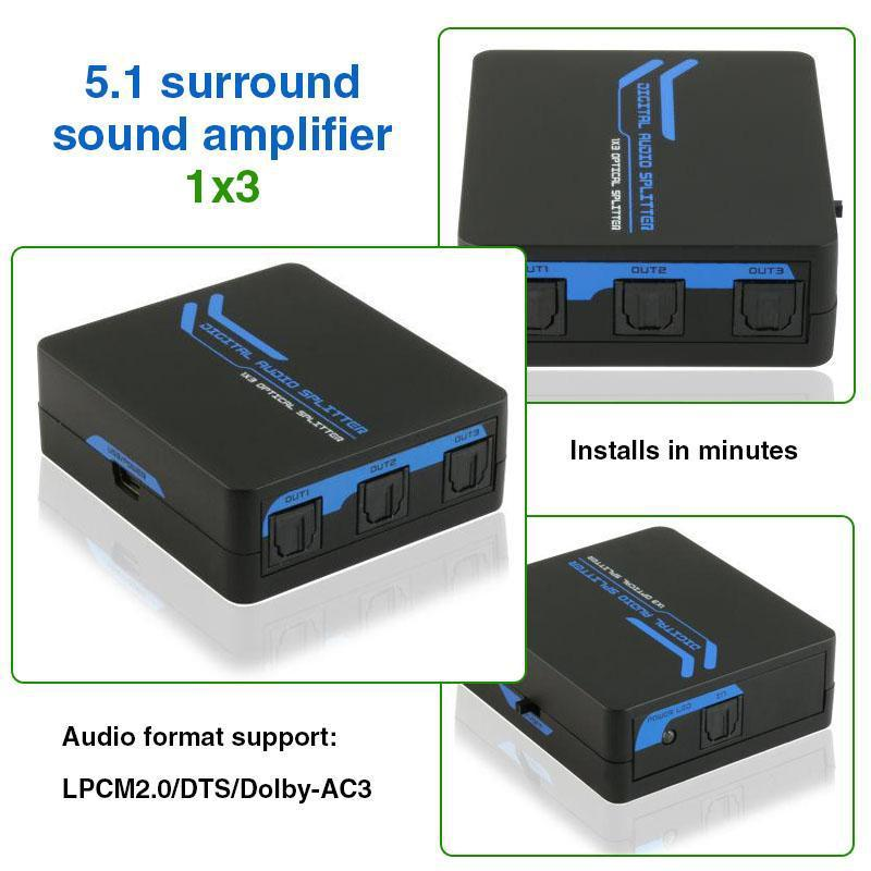5pcs/lot New Audio Amplifier Amplificador SPDIF TOSLINK Digital Optical Audio 1x3 Splitter HD View 1to3 Distributer(China (Mainland))
