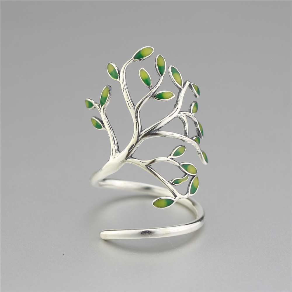 Newest Handmade Sterling Silver 925 Jewelry Tree Shaped Wraped Ring Fashion Design Women Silver Jewelry High Quality(China (Mainland))