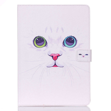 white cat Hot New Folding folio stand smart cover For apple ipad air 2 case magnetic pu leather Tablet accessories for ipad 6