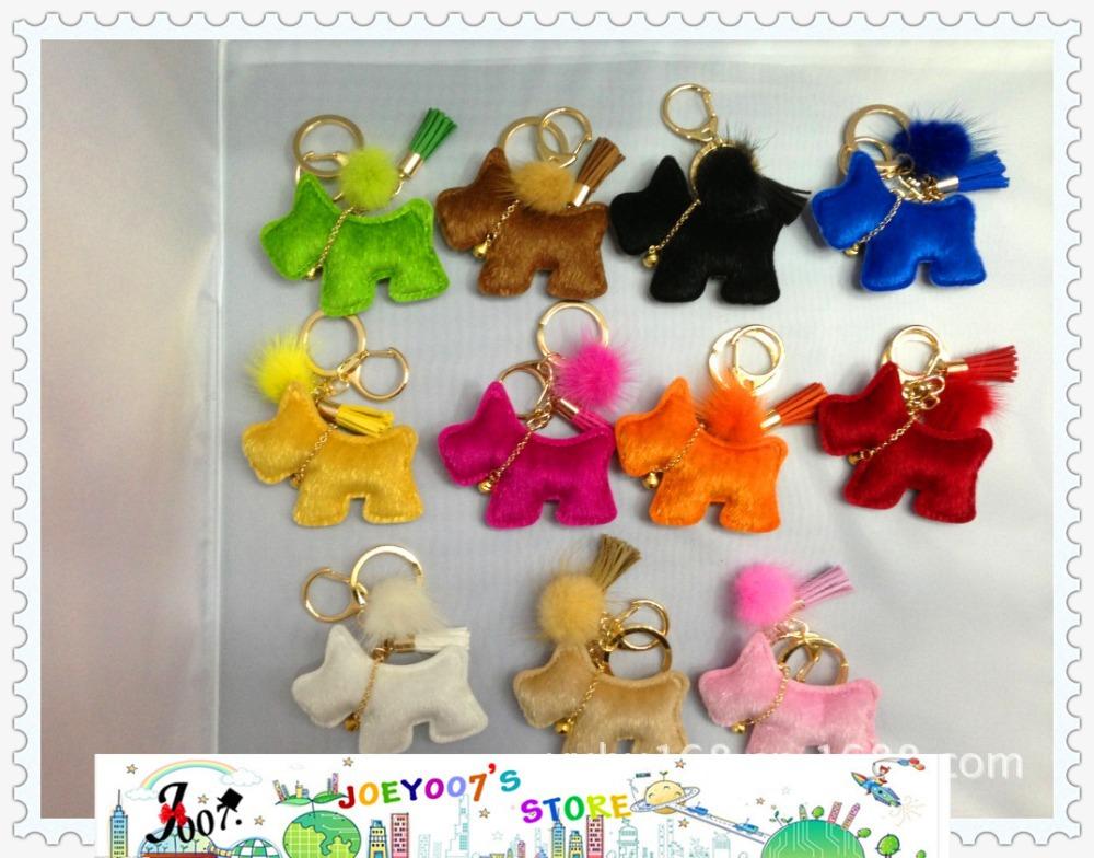 Fashion horse fur leather surface dog keychain with blush ball ans tassel 11 colors 10pcs/set(China (Mainland))