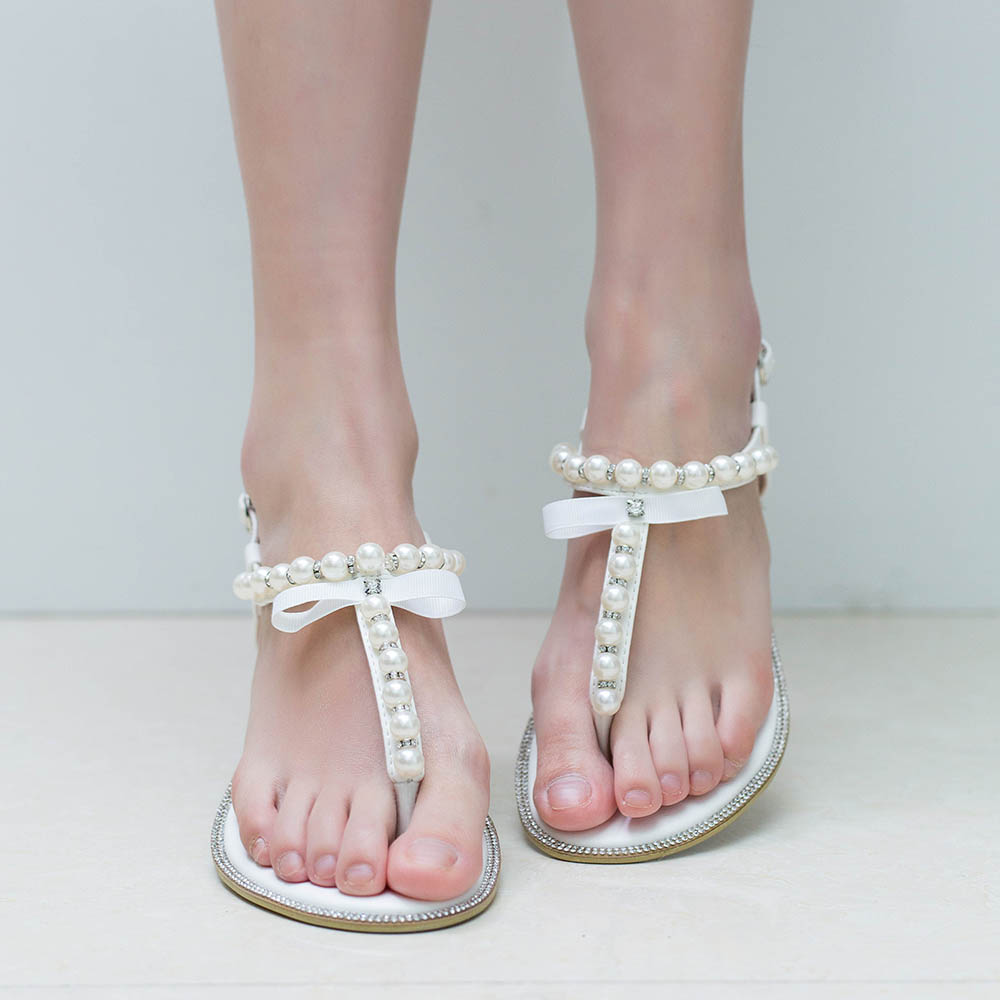 Brand shesole pearls sandals white wedding flats t bar for Flat dress sandals for weddings