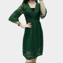 Buy 2017 spring summer green lace dress women deep v neck Flare Sleeve black white sexy beach dress female plus size vestidos mujer ) for $16.67 in AliExpress store