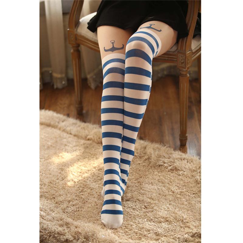 15 стилей моды женщин нейлон милый кот Тоторо колено высокие Колготки татуировка чулки девочек секси колготки над колено чулки