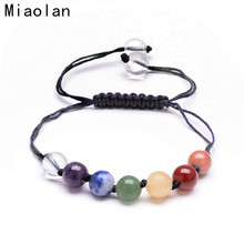 Natural Stone Chakra Beads Bracelet Multilayer Wrap Adjustable Braided Rope Bracelets for Women Men Casual Jewelry(China (Mainland))