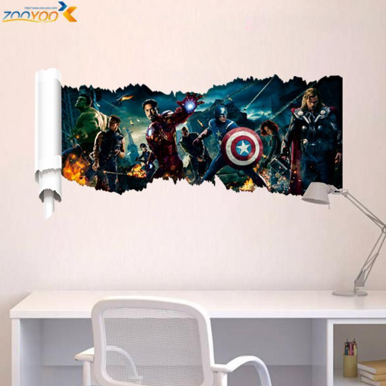 popular super hero wall decals zooyoo1432 bedroom movie wall art diy comic wall stickers for kids room home decorations 46*90 ^(China (Mainland))