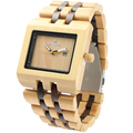 the best Wood Watch Men Fashion Wrist Watch Wooden Band Rectangle Dial Analog Wristwatches Water Resistant
