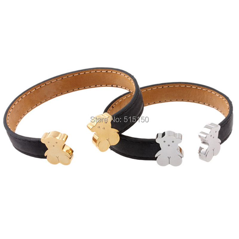 Free Shipping Fashion Jewelry Genuine Black Leather With 316L Stainless Steel Cute Bear Cuff Bangle Bracelet(China (Mainland))