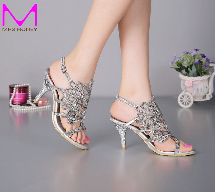 Aliexpress Buy Stiletto Heel Sandals Strappy Summer Sandals Black Rhinestone Heels Sandals