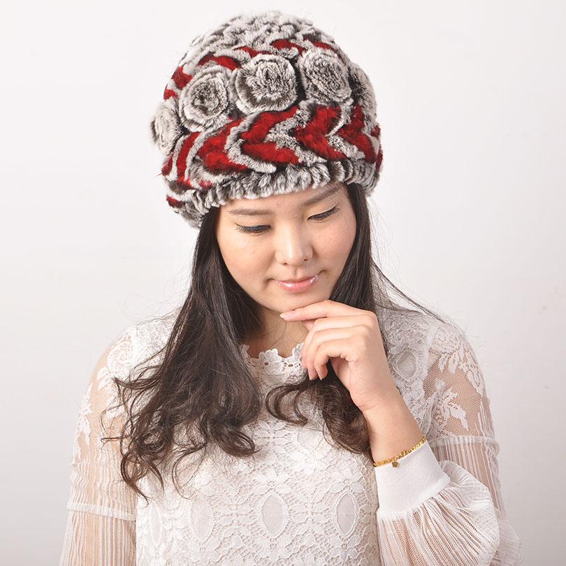 Women ' Winter Hat Rex Rabbit Fur Round Thread And Flower Cross Check Hat Rex Rabbit Fur Women Real Fur Hats(China (Mainland))