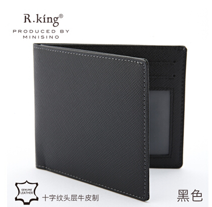 NEW HOT SELL 2015Fashion Designers Famous Brand Genuine Leather Solid Men's Wallets Carteira Ultra-Thin 0.7cm 2 fold wallet(China (Mainland))
