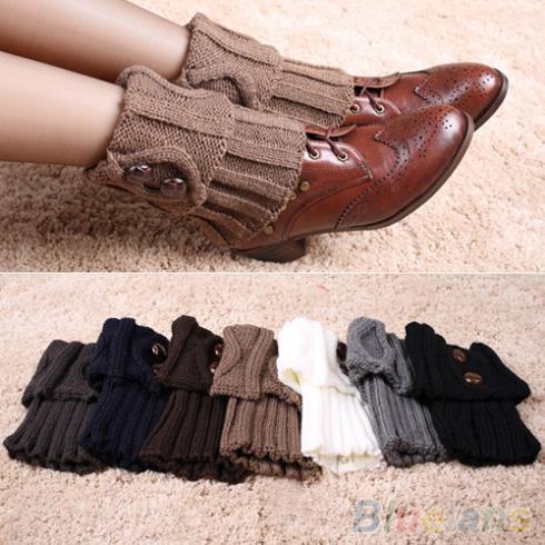 Women Winter Leg Warmers Socks Button Crochet Knit Boot Socks Toppers Cuffs 1Q8Q 49J6
