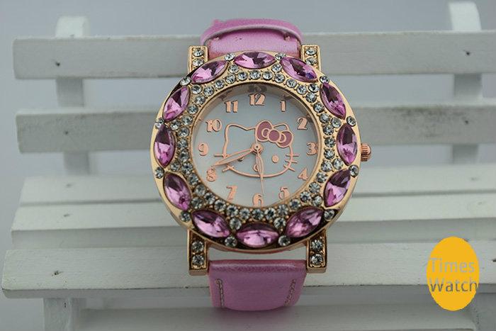 2014 New Fashion Big Diamond hello kitty watch girl kids women leather strap dress watches quart rhinestone quart wrist watch(China (Mainland))
