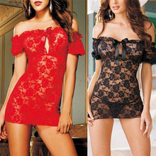 SIF 2016 New Women Sexy Lace See-Through Lingerie Dress Babydoll Nightwear FEB 12